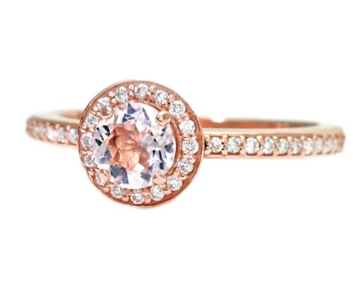 1.00CT Morganite & Diamond Engagement Ring 14K