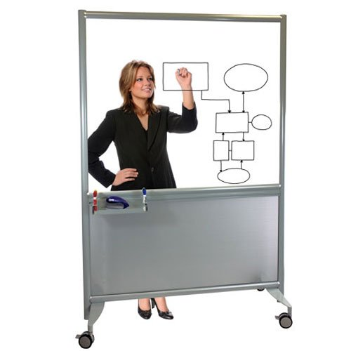 "Mobile Clear Glass Whiteboard w Accessory Rail, 42""W x 72""H, FREE PRODUCT OFFER, Ships Assembled"