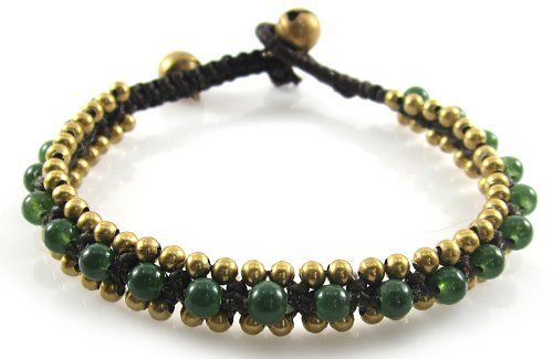 MGD, Green Aventurine With Golden Beads and Brass Bell Bracelet. Beautiful Handmade Jade Color Gemstone Wrap Bracelet Made From Wax Cord. Fashion Jewelry for Women, Teens and Girls., JB-0095