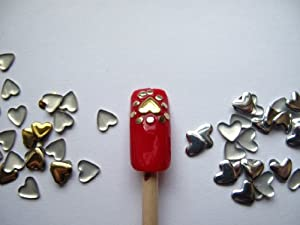 Nail Art 250 Pieces Gold & Silver 5mm HEART Metal Studs for Nails, Cellphones