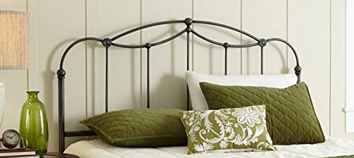 Affinity Metal Headboard Panel with Straight Spindles and Detailed Castings, Blackened Taupe Finish, Queen (Wrought Iron Headboard compare prices)