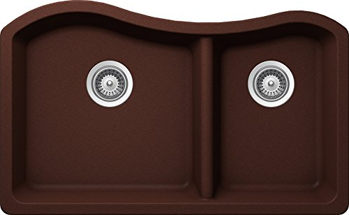 SCHOCK ASHN175U009 ASH Series CRISTALITE 70/30 Undermount Double Bowl Kitchen Sink, Copper