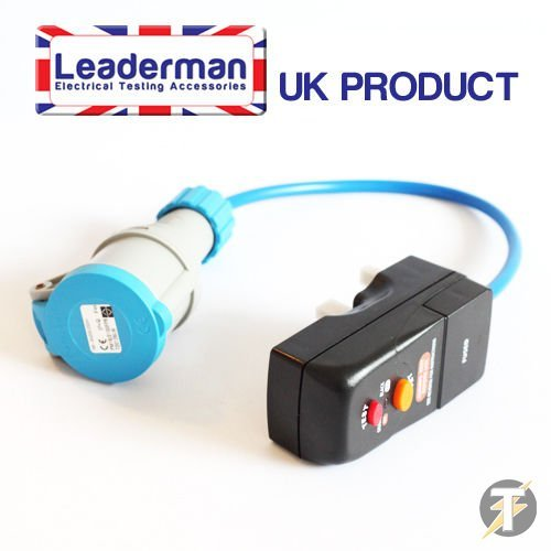 Leaderman LDM23RCD1 - Master Plug RCD Safety Adaptor With 240 Volt, 16 Amp Socket, Detects Earth Current Faults Safely, Ideal For Testing Power Tools, Garden Tools And Other Electrical Appliances