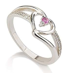 sterling silver birthstone ring with swraovski