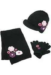 CTM® Girls Age 7-14 Flower Radar Hat Gloves and Scarf Winter Set