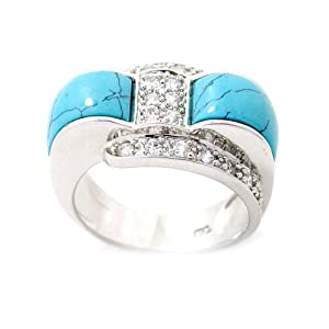 Natural Turquoise &amp; Swarovski Crystal Designer Style Sterling Silver Ring with Rhodium Plated