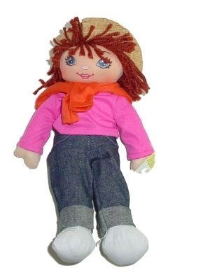 Rag Doll In Jeans With Pink Shirt And Orange Sweater Brown Hair 12 Inches Tall