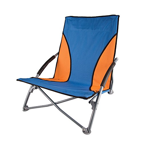 Stansport Low-Profile Fold-Up Chair, Blue/Orange (Low Profile Beach Chair compare prices)