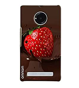 Omnam Cherry Lying In Choclate Printed Desinger Back Cover Case For Micromax Yunique