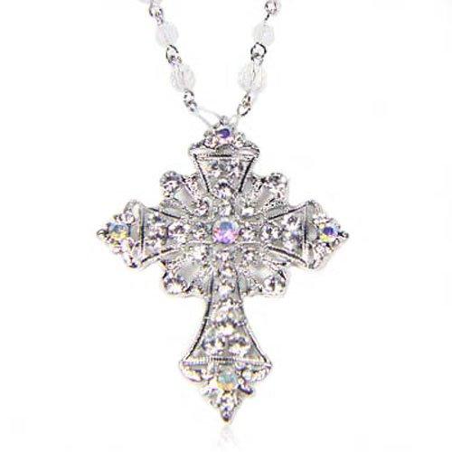 Silver Tone Crystal Stone Cross Charm Glass Bead Long Necklace By GemGem Jewelry