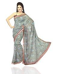Unnati Silks Women Cotton Silk Printed Green Saree