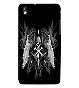 PrintDhaba Skull and Bone D-2197 Back Case Cover for HTC DESIRE 816 (Multi-Coloured)