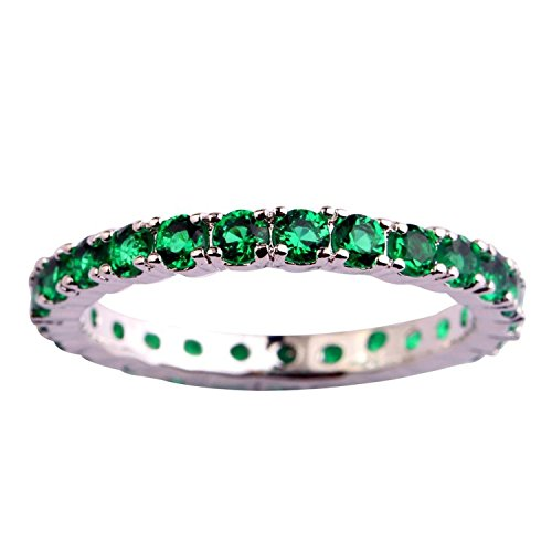 Psiroy Women's 925 Sterling Silver 0.63cttw Emerald Quartz Filled Ring