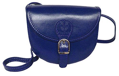 Elegante-Echt-Leder-Trachtentasche-mit-Fleur-des-Lys-frs-Dirndl-Rindsleder-Royal-Blau