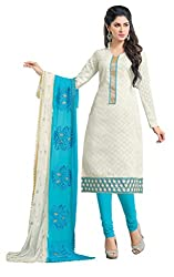 Women Icon Presents Embroidered Lakda Jacquard Dress Material(White,Sky Blue)