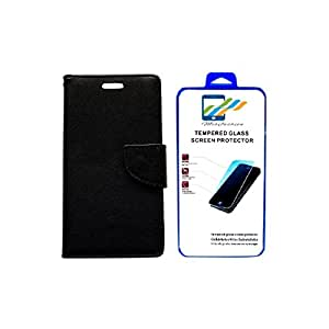 Mobi Fashion Flip Cover For Micromax Canvas Spark 2 Q334 With Tempered Glass - Black