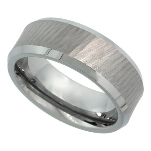 Revoni Tungsten Carbide 8 mm Flat Wedding Band Ring Matte Mirror Diamond Cut Finish Beveled Edges, sizes P to Z+2