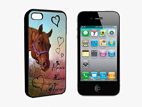 Keep Calm & Love Peace Horses Lomography Image Iphone 4 / 4S Black Rubber Bumper Case Cover