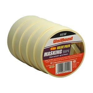 UniBond 5 Roll Value Pack Masking Tape Cream 5 x 25 mm x 25 m  (Old Version)