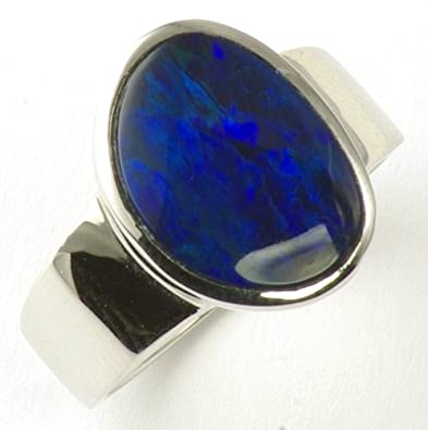 Sterling Silver Dark Blue Opal Ring Size L