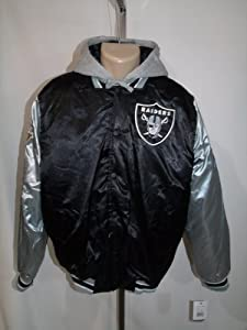 OAKLAND RAIDERS SUPERBOWL CHAMP Mens MEDIUM HOODED JACKET BLACK NWT NFL! by NFL