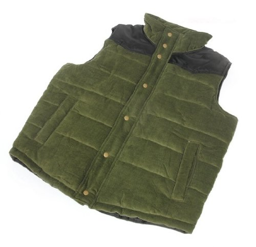 Mens Tom Franks CORDUROY Padded Gilet Navy Black Body Warmer Gillet Jacket Coat - Green, X-Large