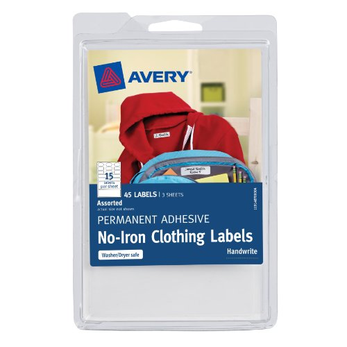 Avery No-Iron Clothing Labels, White, Assorted,