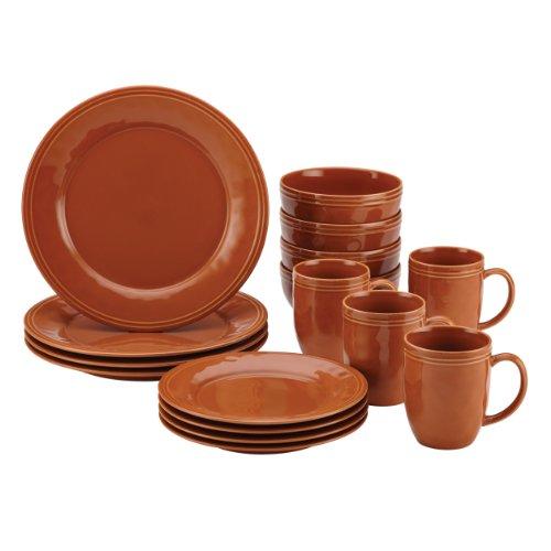 Rachael Ray Cucina 16-Piece Stoneware Dinnerware Set, Pumpkin Orange