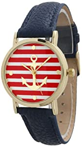 Women's Geneva Striped Anchor Style Leather Watch - Navy/Red