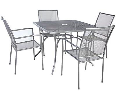 Bentley Garden Outdoor Metal Mesh 5 Piece Table And Chairs Grey Furniture Set