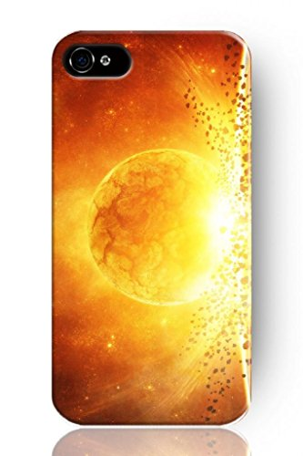 Sprawl New Fashion Design Hard Skin Case Cover Shell For Mobile Phone Apple Iphone 4 4S 4G--Unique Design Golden Fire Sun front-482546