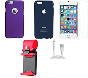 NIROSHA Tempered Glass Screen Guard Cover Case USB Cable Mobile Holder for Apple iPhone 6Plus - Combo