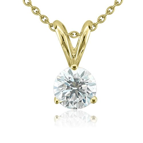 14k Yellow Gold 3-Prong Solitaire Natural Diamond