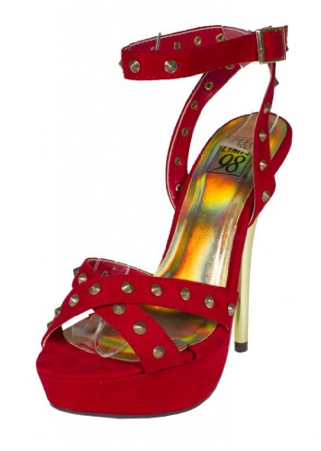 Coris! By Speed Limit 98 Spike Studded Platform Gold Metal High Heel with Wraped Around Adjustable Ankle Strap in Red Faux Suede