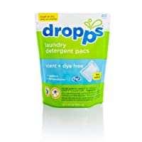 Dropps Laundry Detergent Pacs, Scent + Dye Free, 80 Loads