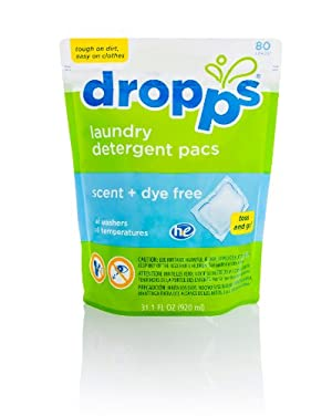 Dropps HE Laundry Detergent Pacs, Scent + Dye Free, 80 Loads