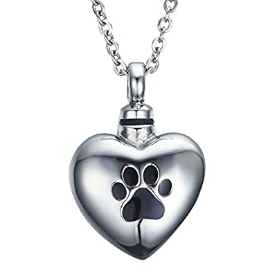 VALYRIA Pet Paw Print on Heart Urn Pendant Necklace Stainless Steel Jewelry with Personalized Engraving
