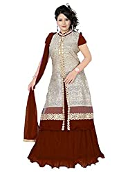 Priyanshu Creation Women's Net Brown Blue Indo Western Dress Material