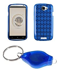 Blue Argyle TPU Gel Case + ATOM LED Keychain Light for HTC One S (T-Mobile)