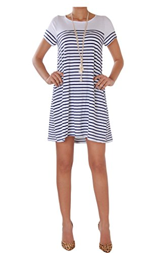Humble Chic Women's Striped Swing Dress - Navy LG - Nautical Stripe Short Sleeve Trapeze Shift, Navy