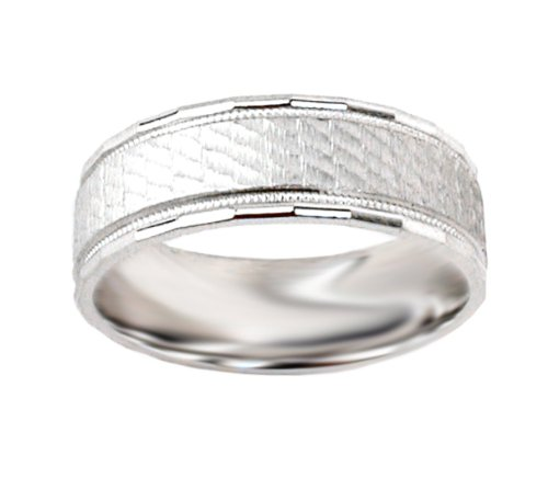 10k White Gold Satin Textured Comfort Fit Men's Wedding Band , Size 11