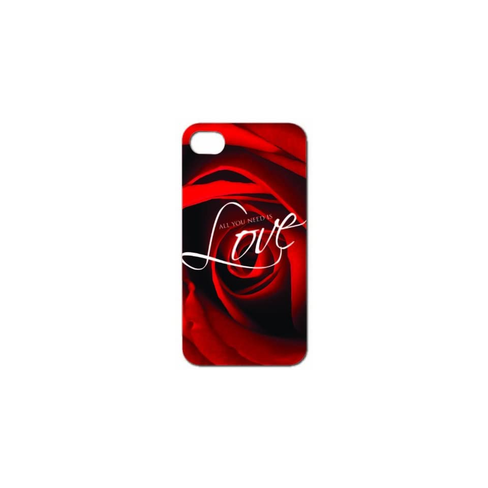 Valentines Day All You Need is Love   iPhone Hard Case   White Protective iPhone 4/iPhone 4S Case.