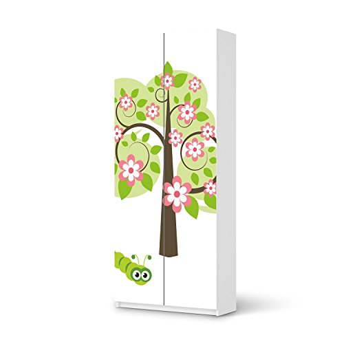 Mbel-Sticker-Folie-fr-IKEA-Pax-Schrank-236-cm-Hhe-2-Tren-Designfolie-Klebefolie-Mbeltattoo-Inneneinrichtung-gestalten-Wohnaccessoires-Design-Motiv-Blooming-Tree