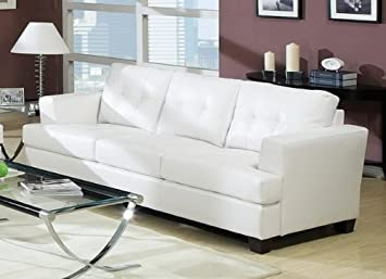 Acme 15095B Diamond Bonded Leather Sofa with Wood Leg - White