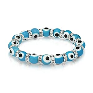 Bling Jewelry Evil Eye Beads 10mm Turquoise Stretch Swarovski Crystal Bracelet