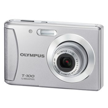 Olympus T-100 12MP Digital Camera with 3x Optical Zoom and 2.4 inch LCD (Silver)