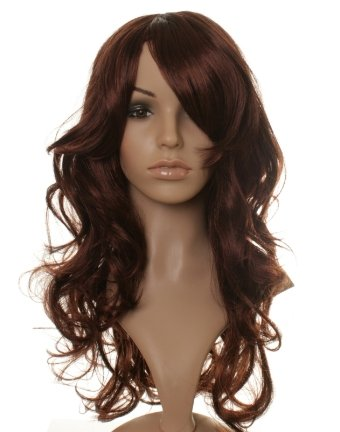 Long black/dark brown curly wig with red lowlights and side sweep fringe - stunning!