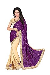 Kimisha Women's Georgette & Brasoo Embroidered Half&Half Saree (GFSLN19 Purple & Beige