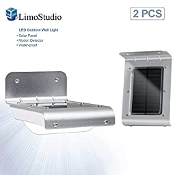 LimoStudio 2 Packs of Solar Power LED Outdoor Wall Lamp Light with Solar Panel, Motion Sensor, Water Proof, Heat Proof, Durable Metal Body, AGG989