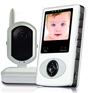 """DB-Tech Digital Video Baby Monitor with built in IR LEDs for up to 16ft Night Vision - Built in Remote Night Light and Lullaby - 2.4"""" color LCD monitor - Built in Rechargeable battery for Monitor - 2-way talkback function to calm your baby - Micro SD Card recording - Room temperature display - Connects up to 4 cameras to view simultaneously - Voice Activated Power Saving Mode"""